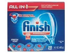 Dishwasher detergents Powerball Tabs Finish - 2nd best dish detergent at consumer reports, much cheaper than 1st/best detergent