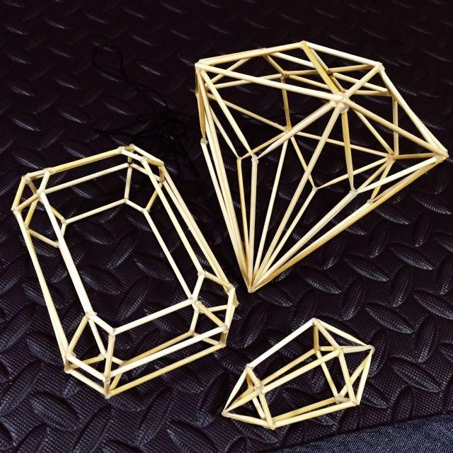 R138さんの、DIY,ダイヤモンド型,エメラルドカット型,ヒンメリ,ヒンメリモビール,水晶,壁/天井,のお部屋写真