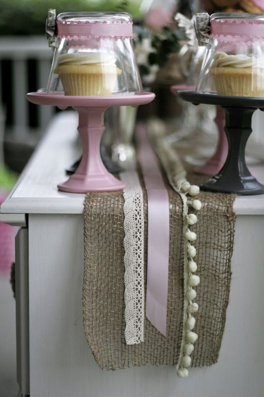 Single cake stands... candlestick, saucer & upside down glass as the dome?