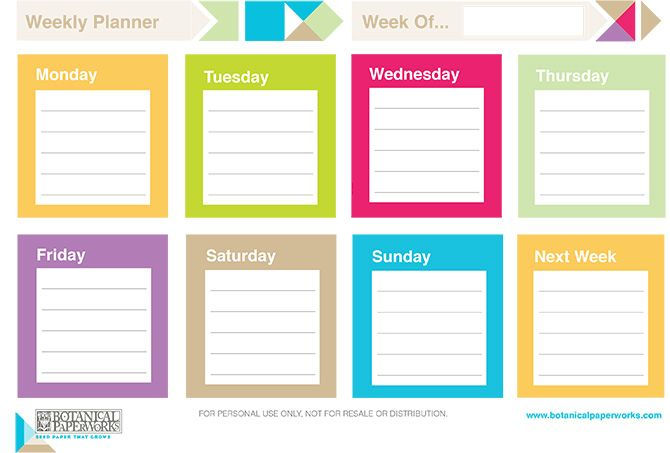 Colorful and bright Free Printable Weekly Planner to keep on track in the week. http://www.botanicalpaperworks.com/blog/read,article/499/free-printable-2014-weekly-planners