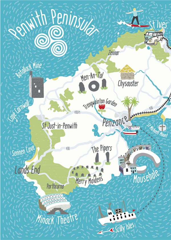 Illustrated map of Penwith, Cornwall
