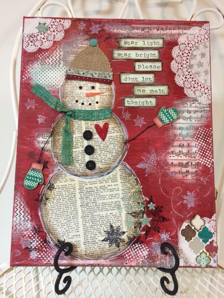 Snow much Fun making this Mixed Media Snowman Canvas!