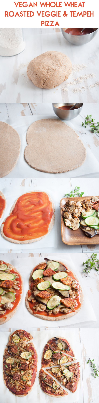 #Vegan Whole Wheat Roasted Veggie & Tempeh Pizza from ElephantasticVegan.com