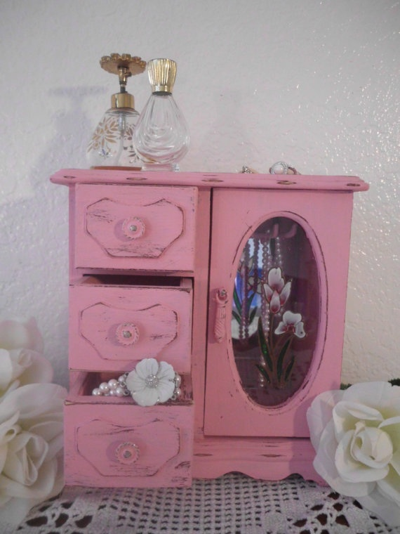 Pink Jewelry Box Rustic Shabby Chic French