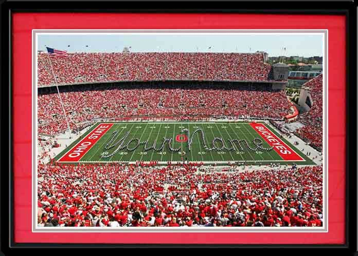 """Ohio State Buckeyes Football-Pictures-Quotes-Frames-Posters-All With OSU Logo-Ohio Stadium Pictures-The Horseshoe """"The Shoe"""" Pictures And Photographs. NCAA College Stadium Framed Pictures.Scarlet And Gray OSU Photos. Ohio State Buckeyes Football Sports Panorama Photo.Ohio State Marching Band-Sports Art.- Personalized Sports Pictures-Personalized YOUR NAME on the field in Ohio Stadium performed by the Ohio State Marching Band."""