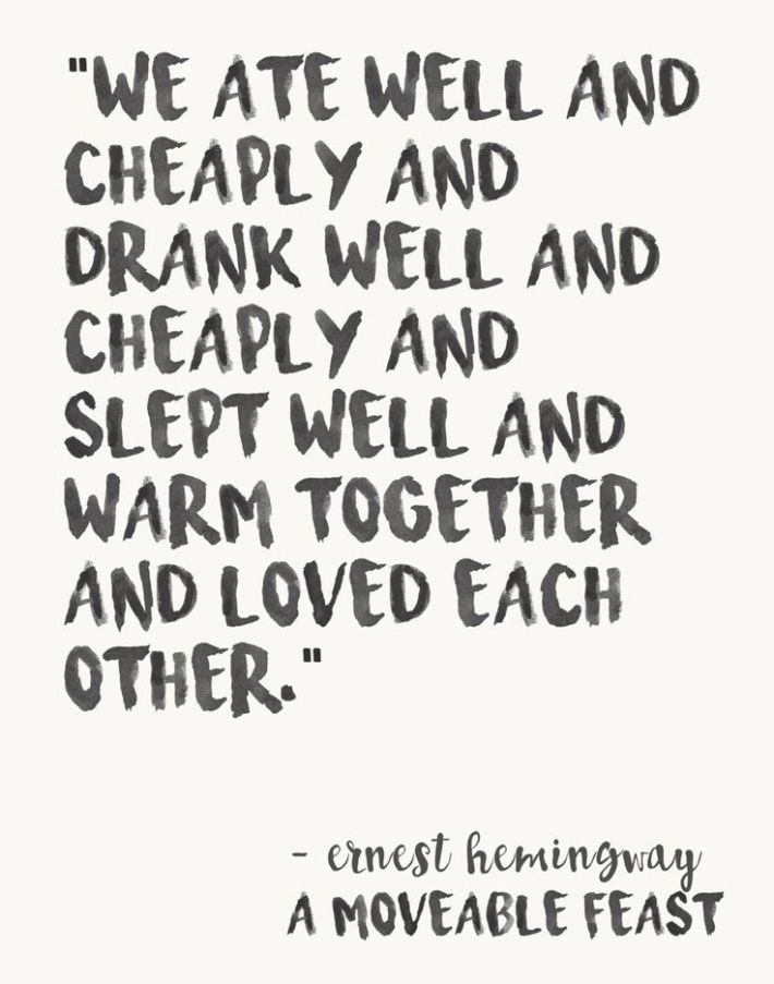 Ernest Hemingway Watercolor Love Quote Print A Moveable Feast