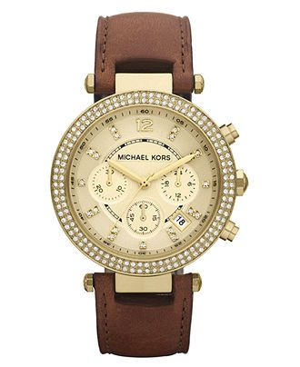 Michael Kors Watch, Women\u0027s Chronograph Parker Chocolate Brown Leather  Strap - All Michael Kors Watches - Jewelry \u0026 Watches - Macy\u0027s