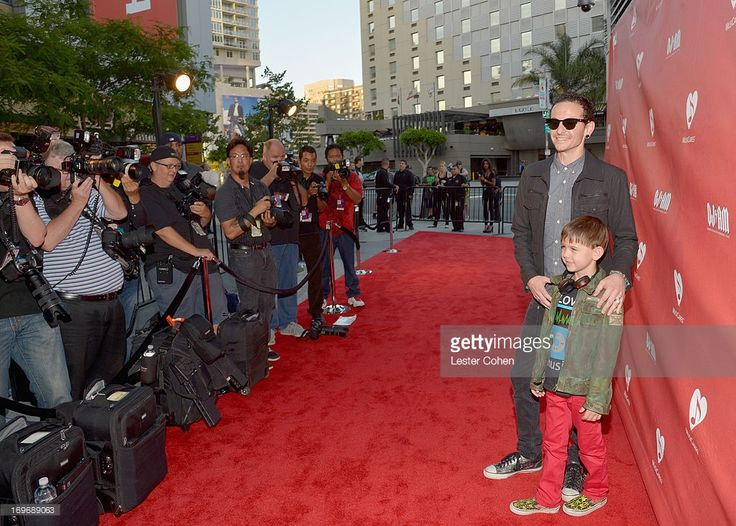 Musician Chester Bennington (L) and son Tyler Lee Bennington attend the 2013 MusiCares MAP Fund Benefit Concert honoring Chester Bennington and Tony Alva at Club Nokia on May 30, 2013 in Los Angeles, California.