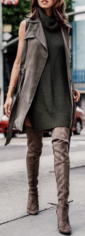 STUART WEITZMAN The ALLLEGS over-the-knee boots | ANTHROPOLOGIE draped trench vest & turtleneck sleeveless tunic | CELINE Medium Trotter bag