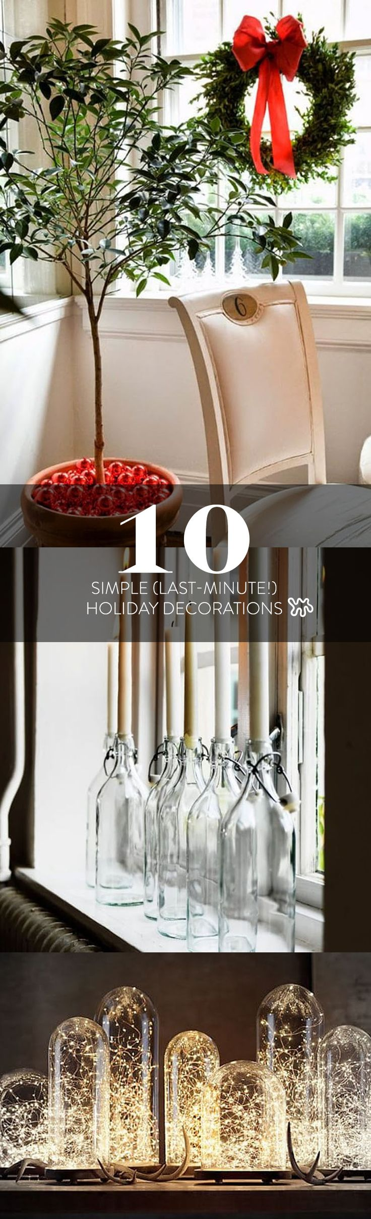 Here are ten decorating ideas that are beautiful, modern, and almost shamefully easy to execute. If you don't have the space, or the time, to decorate a whole Christmas tree, ideas like a pine branch in a pretty vase makes a lovely alternative.