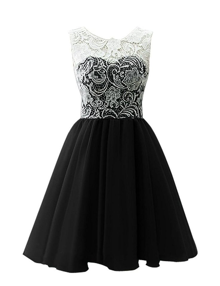 Snowskite Women's Short Tulle Lace Homecoming Prom Dress Black 0