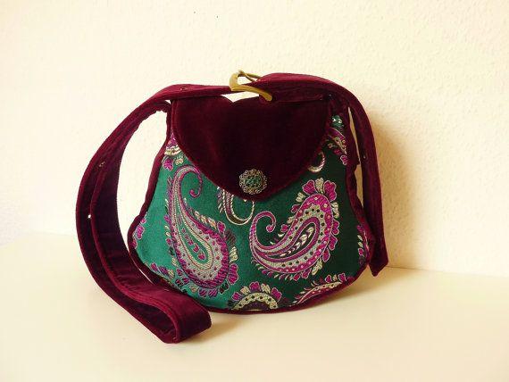 "Paisley Bohemian Oriental Bag Purse ""Firinne"" Brocade Emerald Green Velvet Burgundy Fairy Hippie Vintage Goa Medusa Ethnic Shoulderbag"