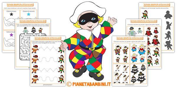 Schede didattiche di Carnevale per la scuola dell'infanzia