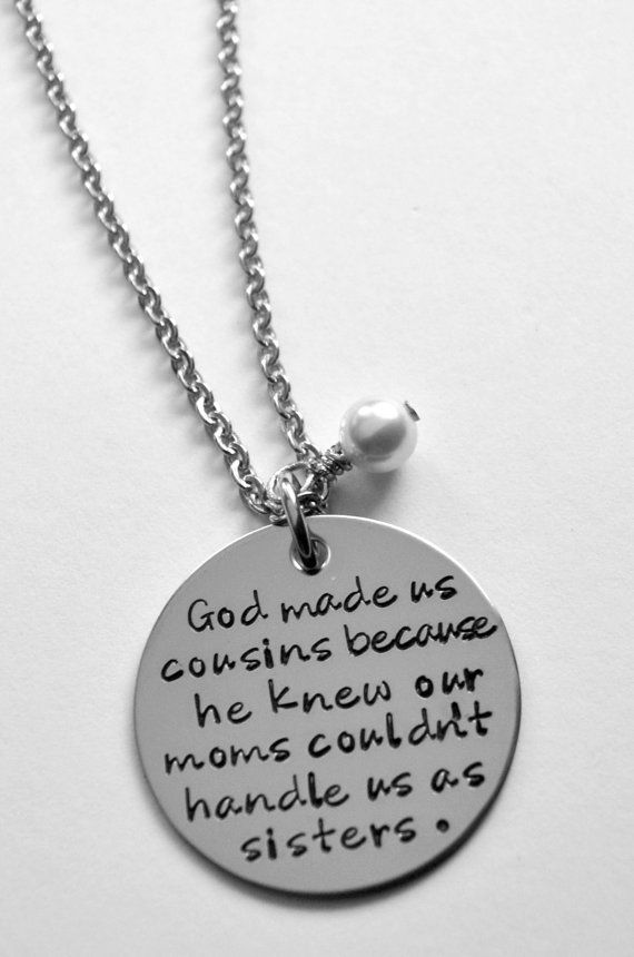 Cousin Necklace God made us cousins Cousin by LauriginalDesigns