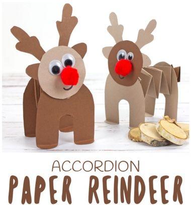 Easy Rudolph reindeer accordion craft for kids // Egyszerű papír rénszarvas Rudolf  figura - ötlet gyerekeknek // Mindy - craft tutorial collection // #crafts #DIY #craftTutorial #tutorial #SantaCrafts #Santa #ChristmasCrafts #Mikulás #Télapó
