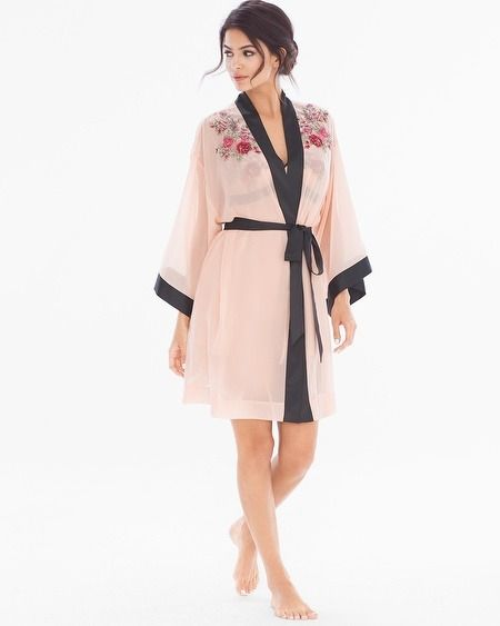 Chiffon and embroidery enchant on a sheer short robe that you'll want to wear when love is in the air. From Soma's Limited Edition Valentine's Day collection.