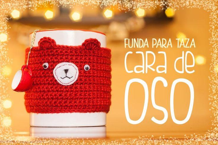 Cómo hacer una funda para taza de ganchillo con cara de oso | Crochet mug cozy