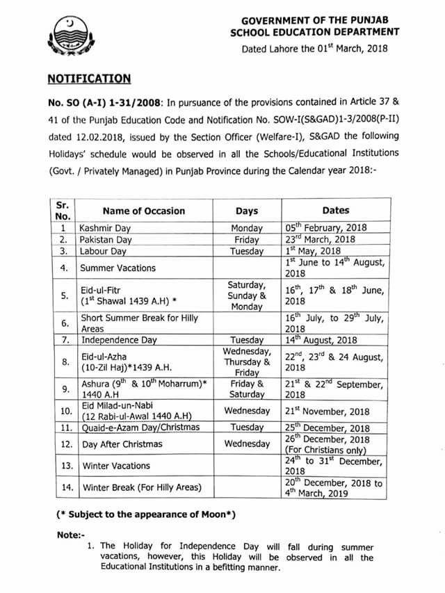 Punjab Govt Announces Schedule of Public Holidays for 2018