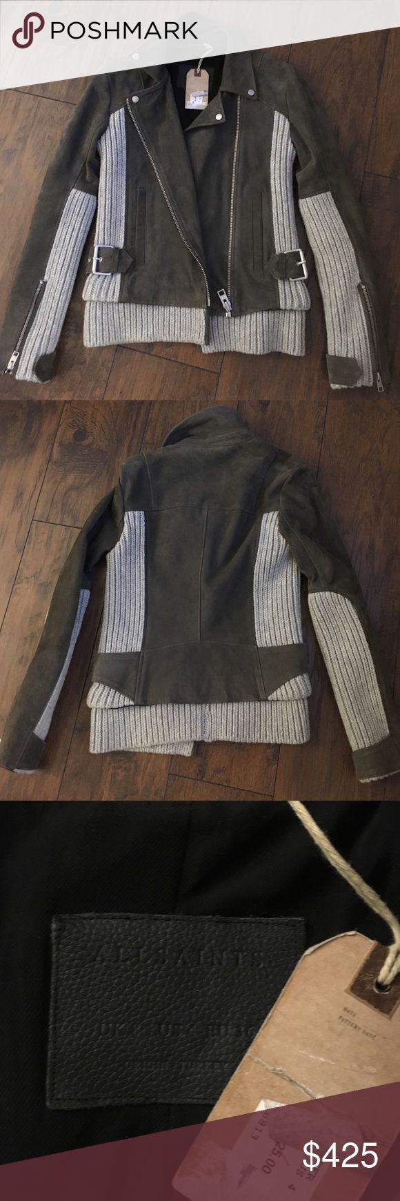 Allsaints Axel suede biker NWT picked this up and It's too tight for me. It's absolutely gorgeous and luxurious but I am not an allsaints 4!!! Color is grey/mist U.K. 8 US4 All Saints Jackets & Coats