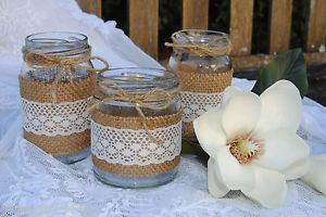 Vintage Wedding Engagement Decorations Hessian Lace Glass Jars Candle Holder NEW