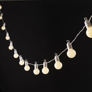 20 Warm White LED Party Lights 5 Metres, White Cable