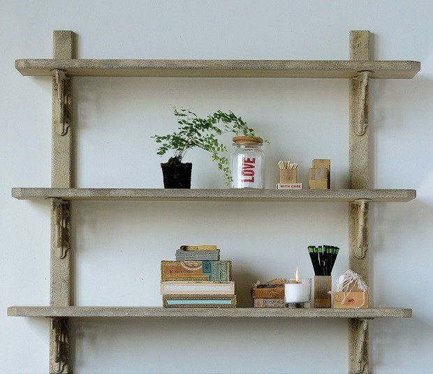 Rustic Wooden Bookshelf Wall Mounted Wall Shelving Units Wall