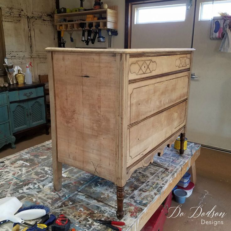 Look What Removing Veneer Did To This Wood Dresser Wood Dressers Makeover Wood Dresser Rustic Furniture