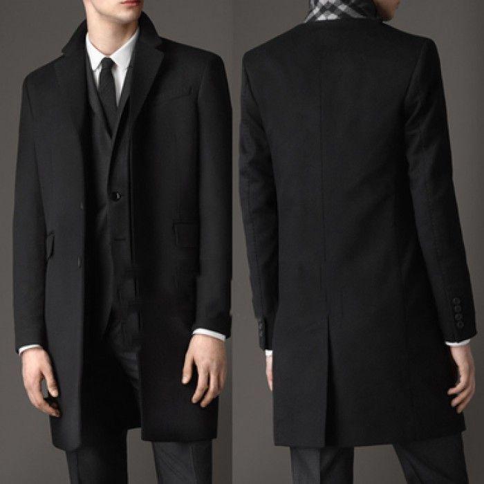 Мужское элегантное пальто Burberry черное