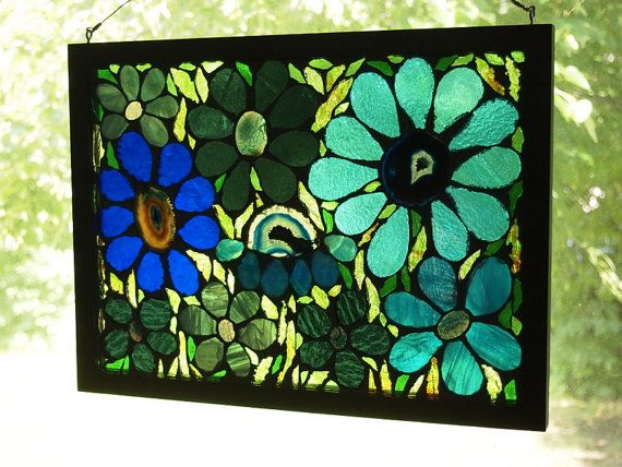 Stained Glass Mosaic On Glass Quot Garden Of Blue Quot By