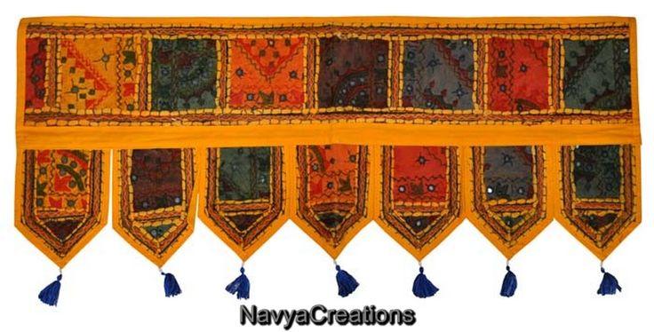 Indian Cotton Embroidered Mirror Door Hanging Decor Vintage Window Valance Toran . Indian Handmade Cotton Vintage Embroidered Door Hanging Patchwork Toran Window Valance Topper Size (38 X 14 Inches)