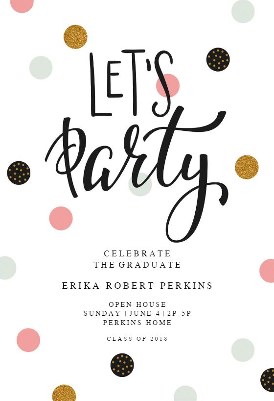 lets party invitation template customize add text and photos print download send online for free graduation graduationday graduatiocards