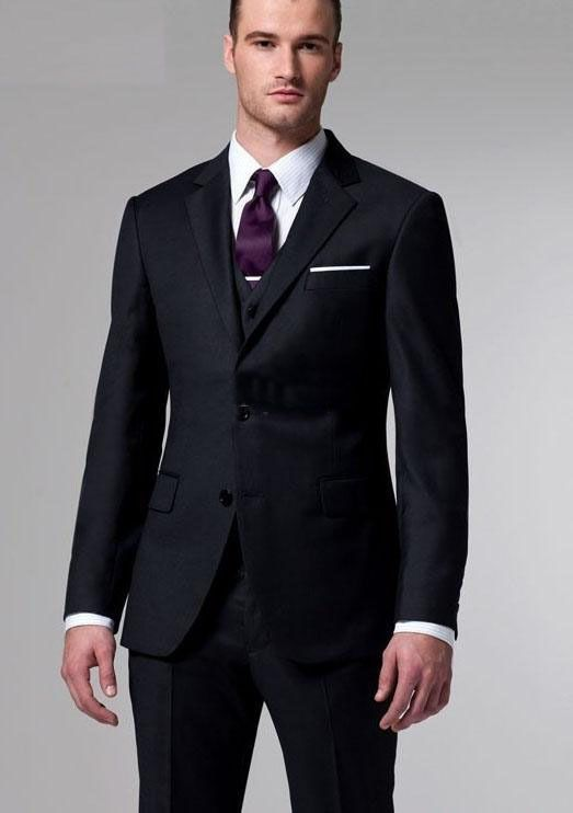 Wholesale - custom made new Charcoal 3 Piece SuitTwo-button wool wedding suits groom tuxedo suit for mens A04