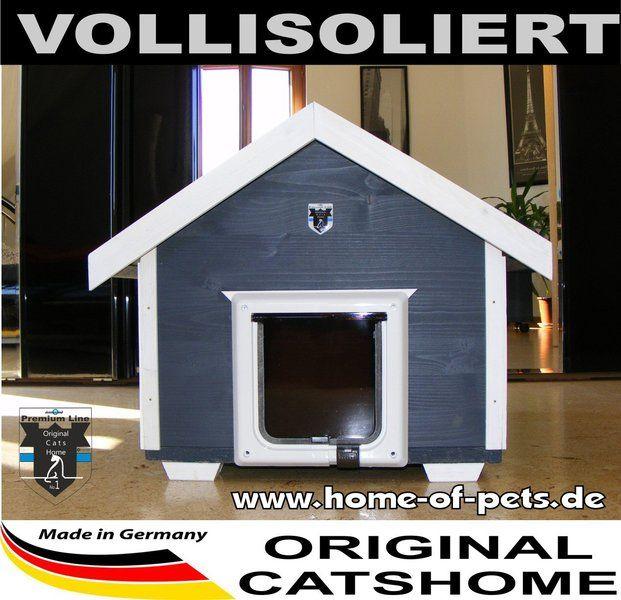 Luxus Katzenhaus MODERN vollisolierte Thermobox & Katzenklappe