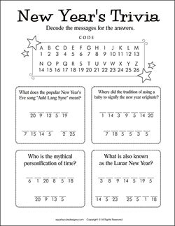 New Years trivia for kids - New Years activities for kids - party games & puzzles. Decode a message game.  We also have New Years coloring pages.