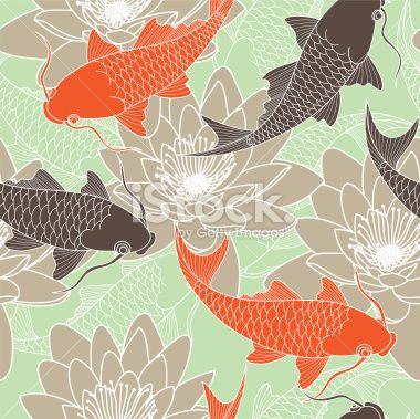 Carpe Koï, Japon, Culture japonaise, Culture asiatique, Motif Illustration vectorielle libre de droits