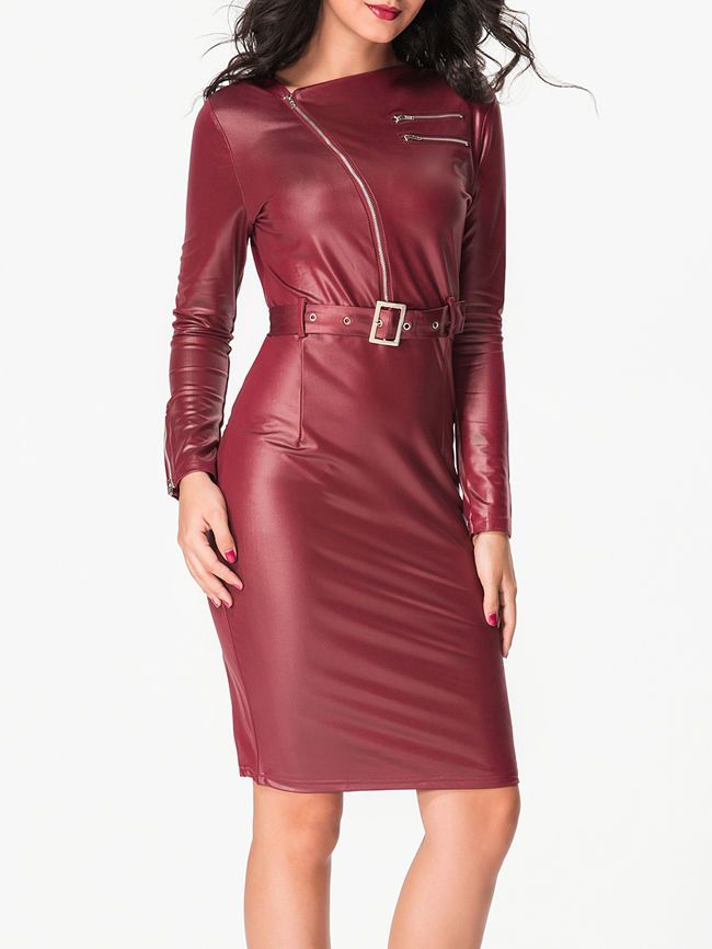 Asymmetric Neck Zips Leather Plain Split Bodycon-dress