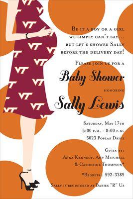 Virginia Tech Baby Shower Invitations