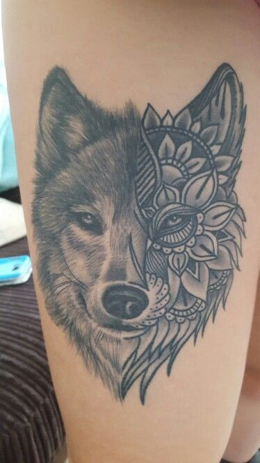 My new Wolf tattoo! Super pleased with it! #Wolf #SpiritAnimal #Paisley