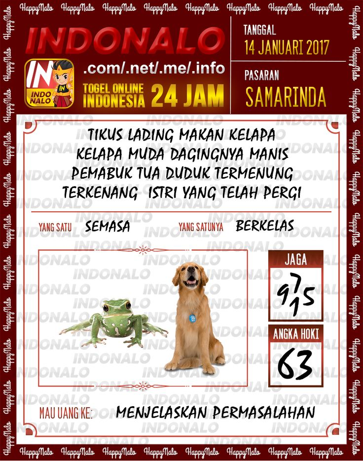 Kode Hoki 2D Togel Wap Online Live Draw 4D Indonalo Samarinda 14 Januari 2017