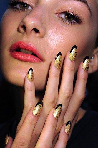 Our picks for the hottest trends of 2012 – so far!: Stilettos Nails, Fashion Weeks, Nails Trends, Nails Art, Gold Nails, Gold Leaf, Nails Design, Black Gold, French Tips