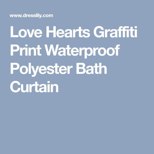 Love Hearts Graffiti Print Waterproof Polyester Bath Curtain