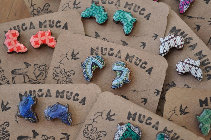 10 pairs of Wood and Resin Africa stud earrings by MugaMugaSouthAfrica on Etsy
