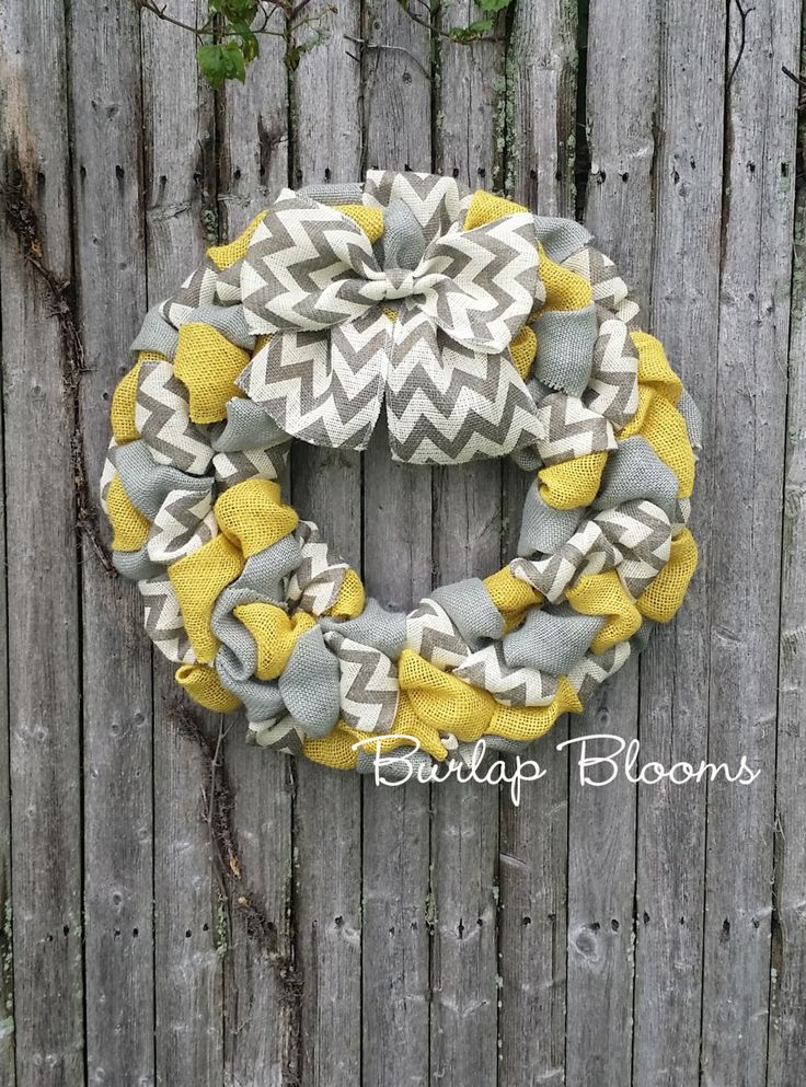 Chevron Wreath, Burlap Wreath, Year Round Wreath, Yellow and Gray Wreath, Front Door Wreath by BurlapBlooms on Etsy https://www.etsy.com/listing/241920336/chevron-wreath-burlap-wreath-year-round