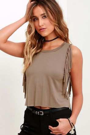 Strings Attached Taupe Fringe Top at Lulus.com!