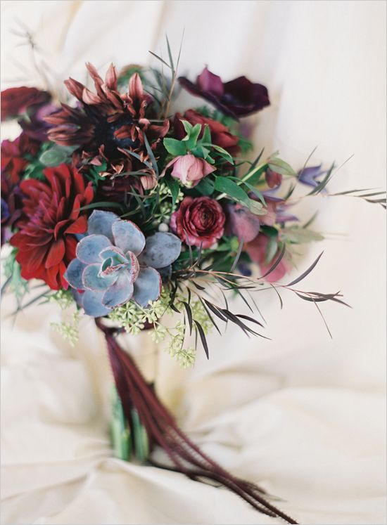 Love this dramatic dark #wedding flowers bouquet! From http://weddingchicks.com/2013/06/04/dark-wedding-flower-ideas/  Photo Credit: http://brycecoveyphotography.com/  Floral Design by http://sweetmariedesigns.com/