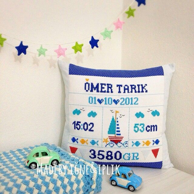 Instagram @madebyigneiplik /Crossstitch baby pillow