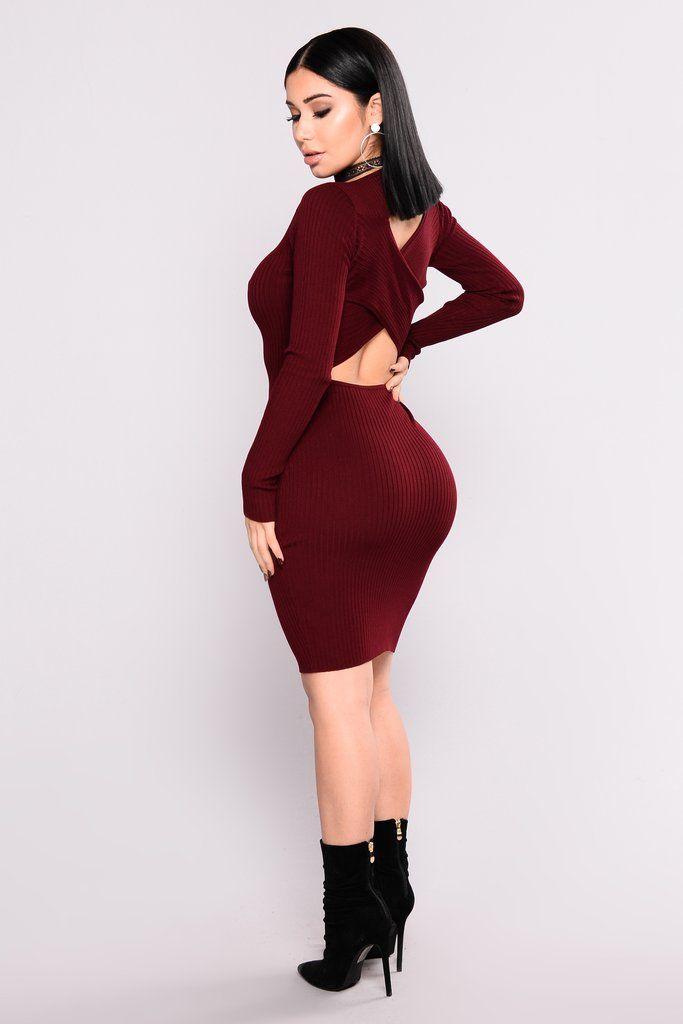 Zayla Knit Dress – Burgundy
