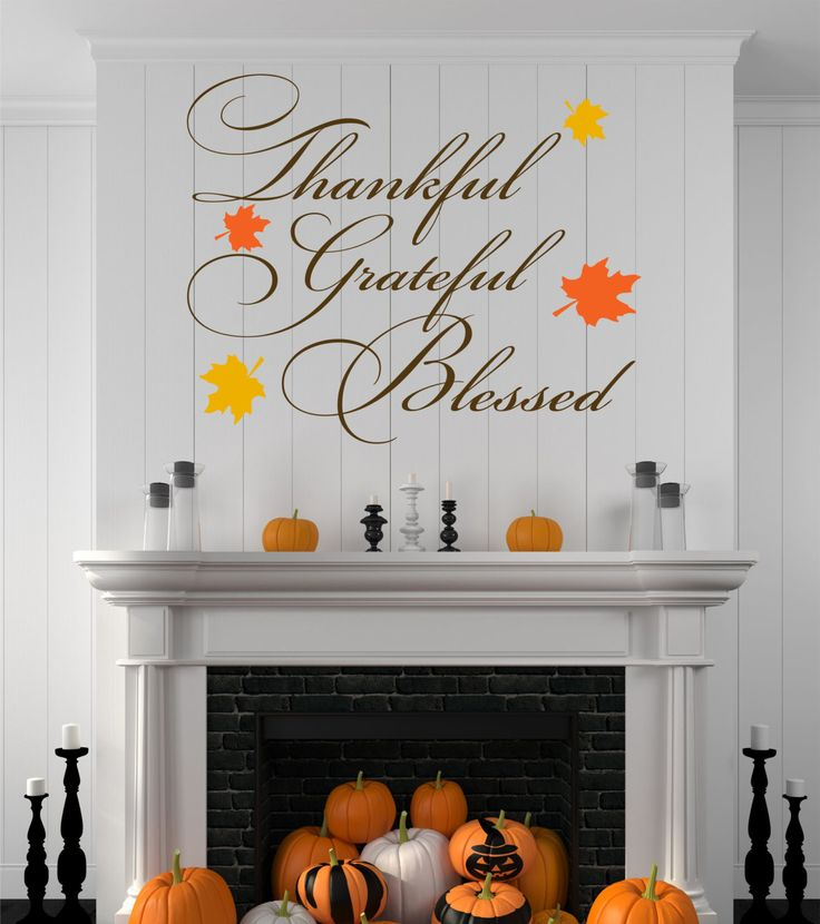 Thankful Grateful Blessed Halloween Decal Fall By SignJunkies