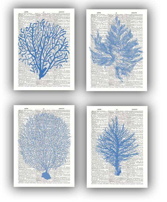 4 Seafan Ocean Blue prints Sea fan sea grass coral by PrintLand, $28.50