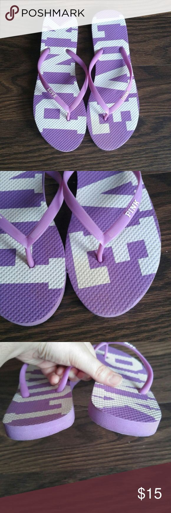 VS PINK Sandals Victoria's Secret PINK purple flip flops in size M / L - these will fit an 8-9. There is a small stain on the toe of the left shoe. PINK Victoria's Secret Shoes Sandals